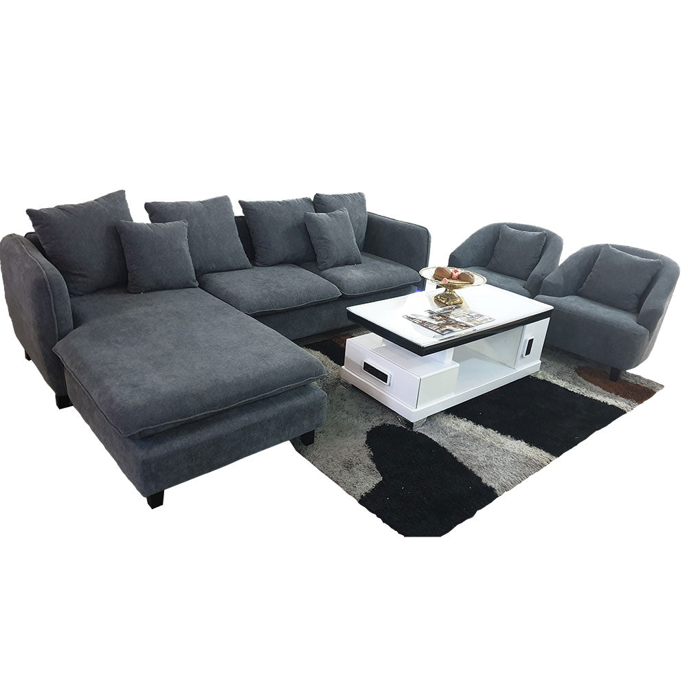 Sapphire Grey Fabric Sectional Sofa + 2 Single Chairs