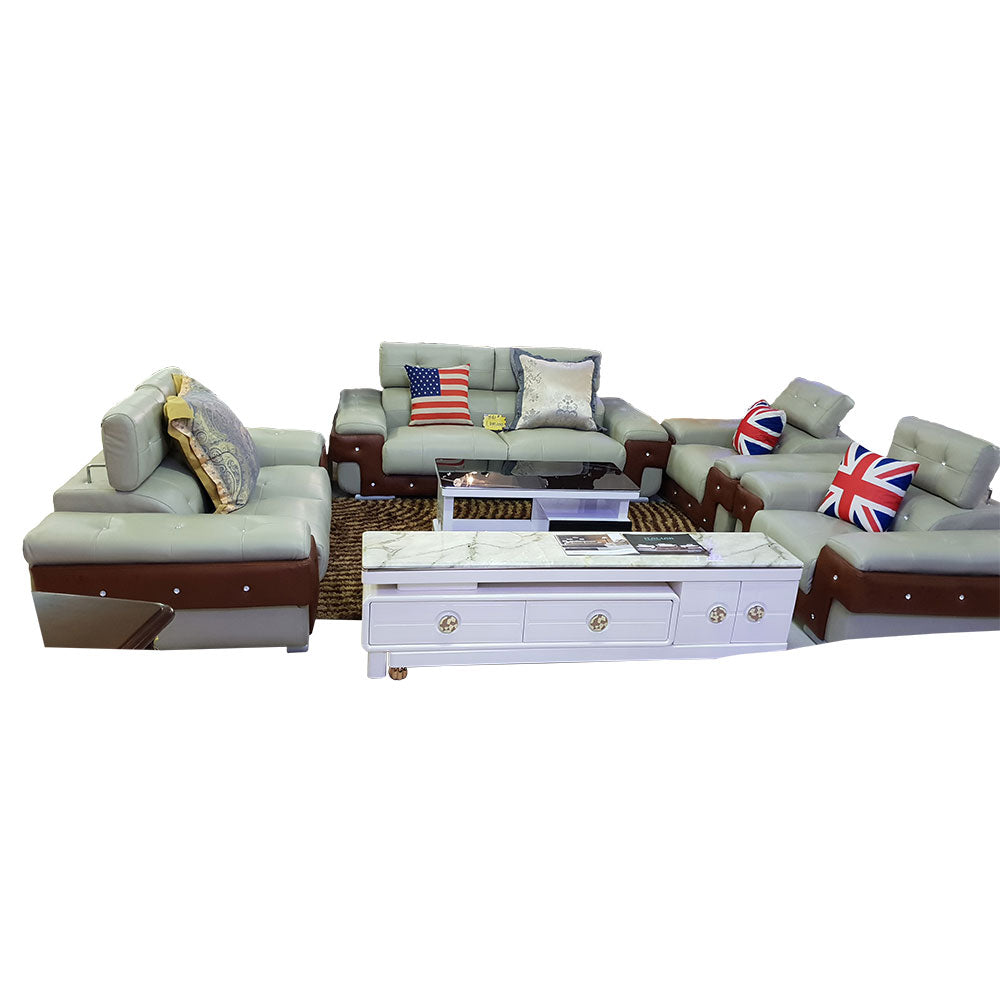 Vidal 7 seater Grey Italian leather Sofa Set