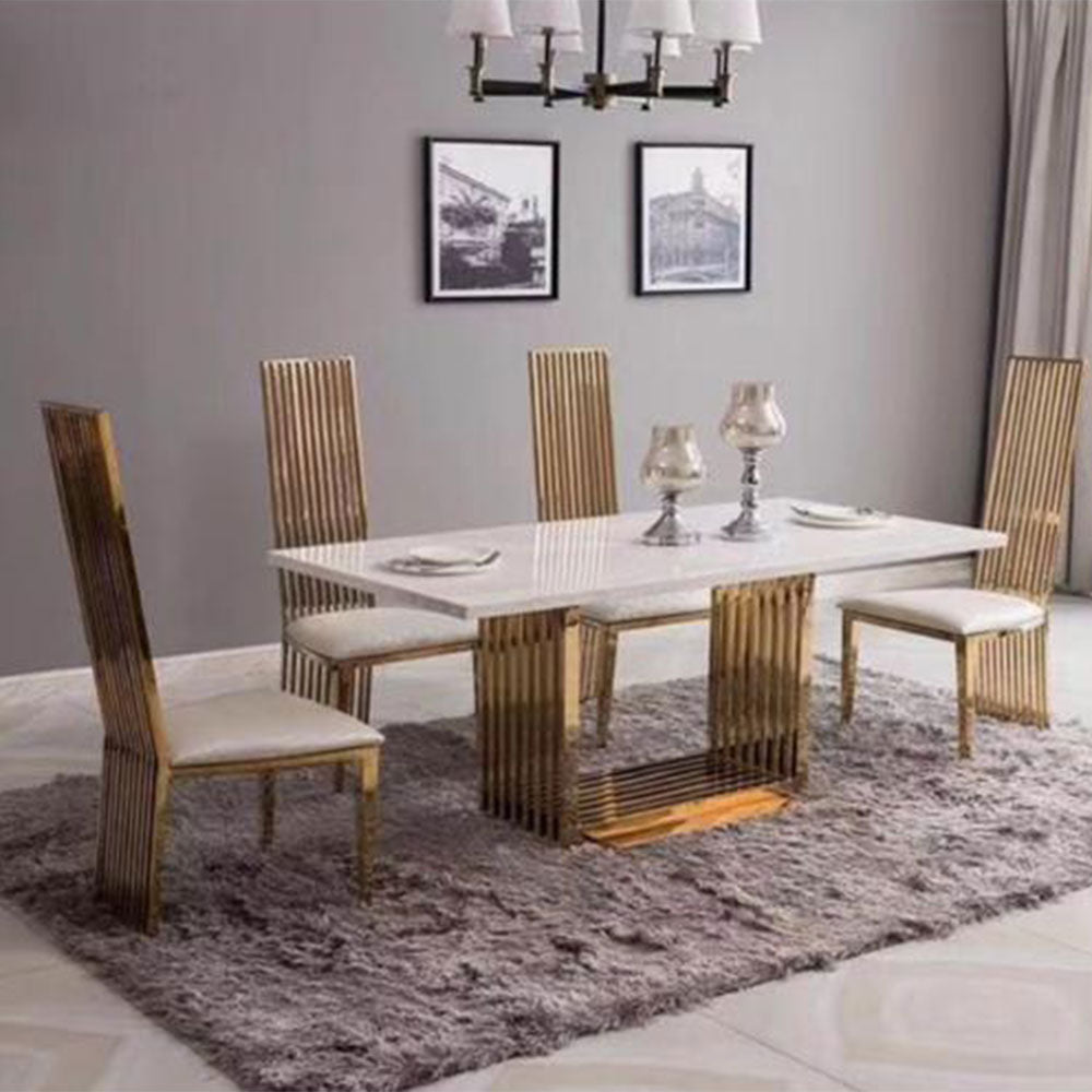 Bronko 6 Seaters Royal Marble Dining Set - Domestico Furniture