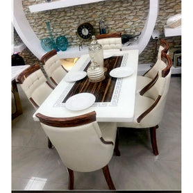Fermin 6 Seaters White Marble Dining Set - Domestico Furniture