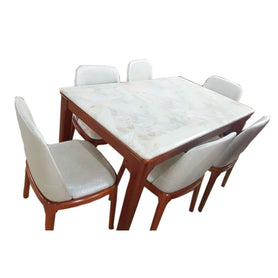 Nina 6 Seaters White Marble Dining Set - Domestico Furniture