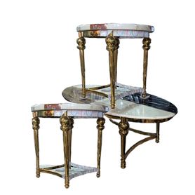 Madra Oval Marble Center table + 2 Side Stools