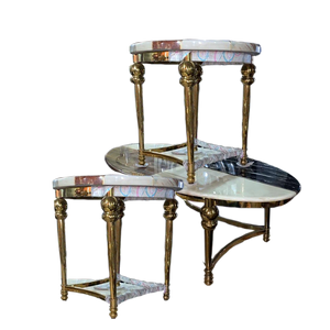 Madra Oval Marble Center table + 2 Side Stools - Domestico Furniture