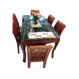 Juan 6 Seaters Black Marble Dining Set - Domestico Furniture