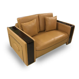 Mireya 7 seater Custard leather Sofa Set - Domestico Furniture