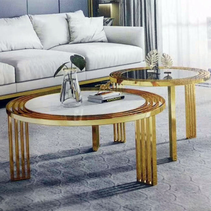 Fiby Round Glass Center table + 2 side stools - Domestico Furniture