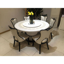 Load image into Gallery viewer, Pietro Round 6 Seaters White Marble Dining Set - Domestico Furniture