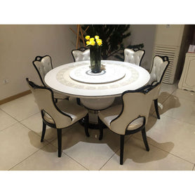 Pietro Round 6 Seaters White Marble Dining Set