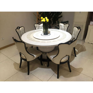Pietro Round 6 Seaters White Marble Dining Set - Domestico Furniture