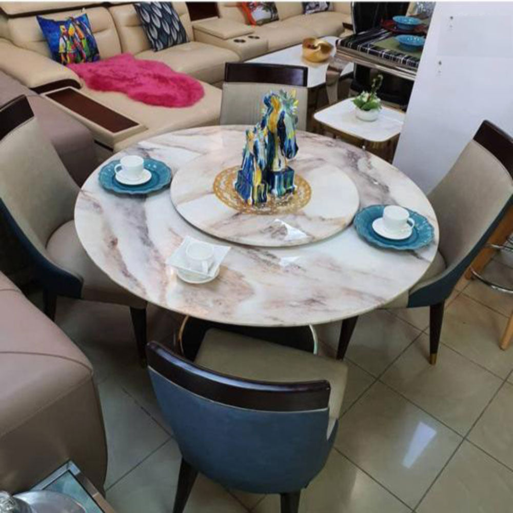 Anitia 4 Seaters White Marble Dining Set