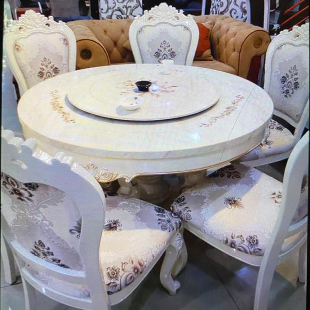 Daira 6 Seaters White Marble Dining Set