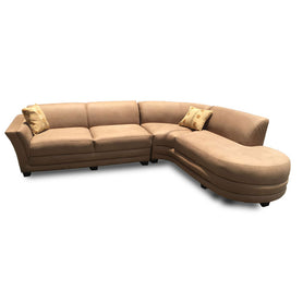 Raymon Brown Curved Leather Sectional Sofa