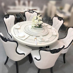 Bidal 6 Seaters White Marble Dining Set - Domestico Furniture