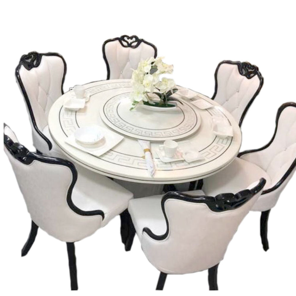 Bidal 6 Seaters White Marble Dining Set