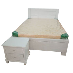 Hana 6 by 5 White Bed + 1 Bedside - Domestico Furniture