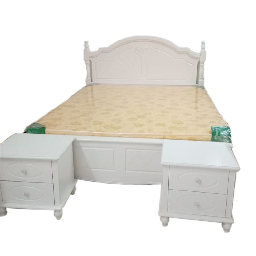 Ramon 6 by 6 White Bed + 2 Bedsides