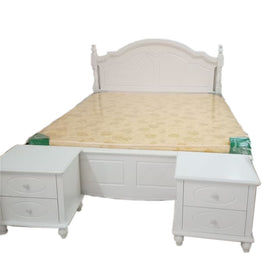 Ramon 6 by 6 White Bed + 2 Bedsides - Domestico Furniture