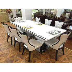 Azure 6 Seaters White Marble Dining Set - Domestico Furniture