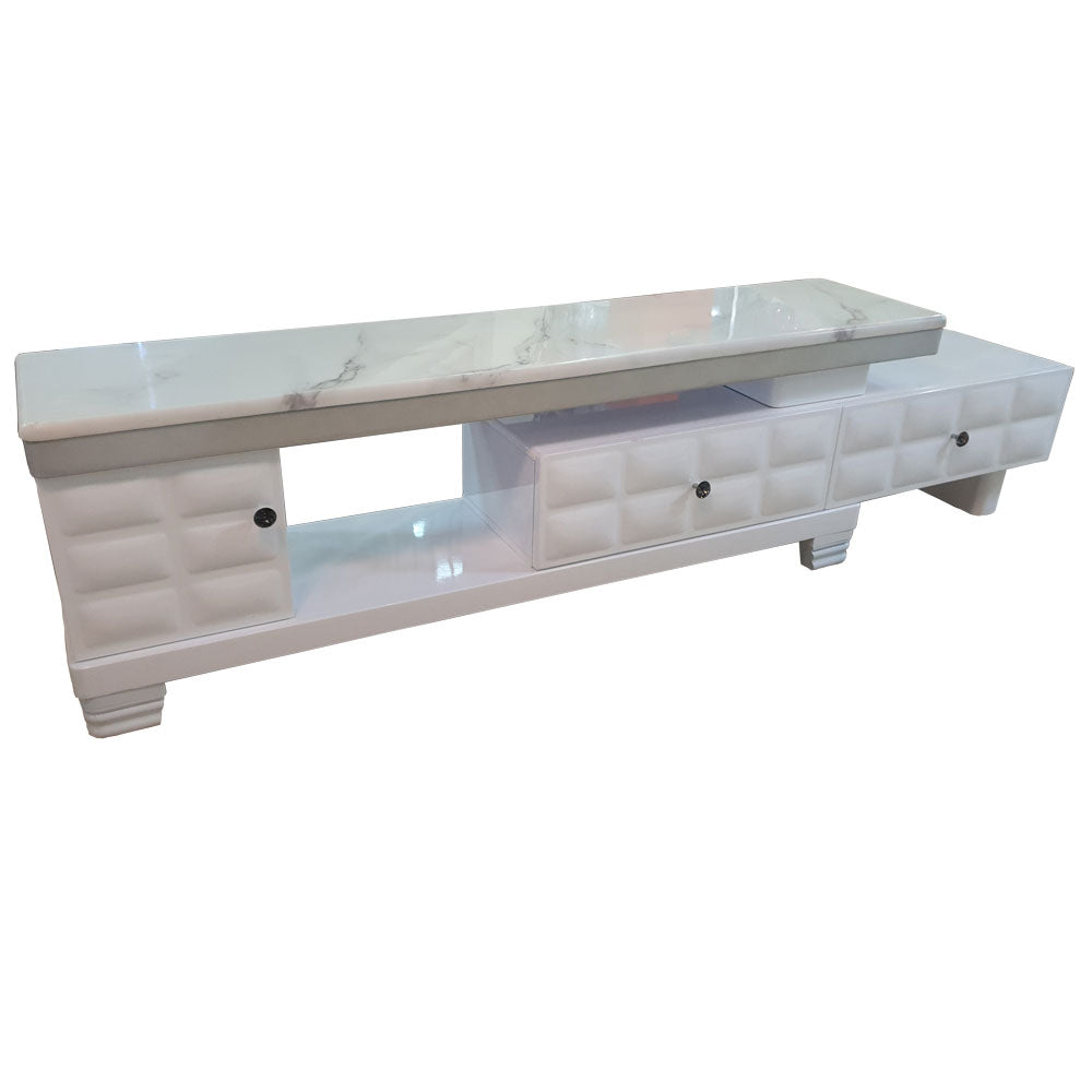 Mercedes White Marble TV Stand | 5ft - Domestico Furniture