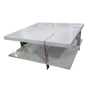 Everly White Glass Center table - Domestico Furniture