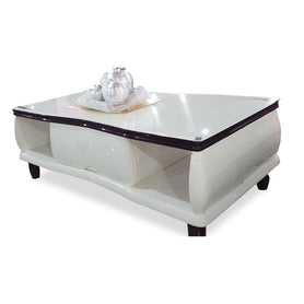 Emery White Glass Center table - Domestico Furniture
