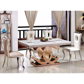 Bronco 6 Seaters Marble Dining Set - Domestico Furniture