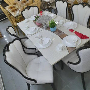 Anibal 6 Seaters White Marble Dining Set - Domestico Furniture
