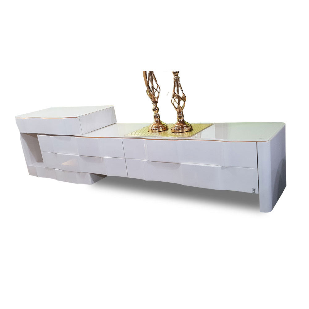 Seven White Marble TV Stand | 6ft - Domestico Furniture