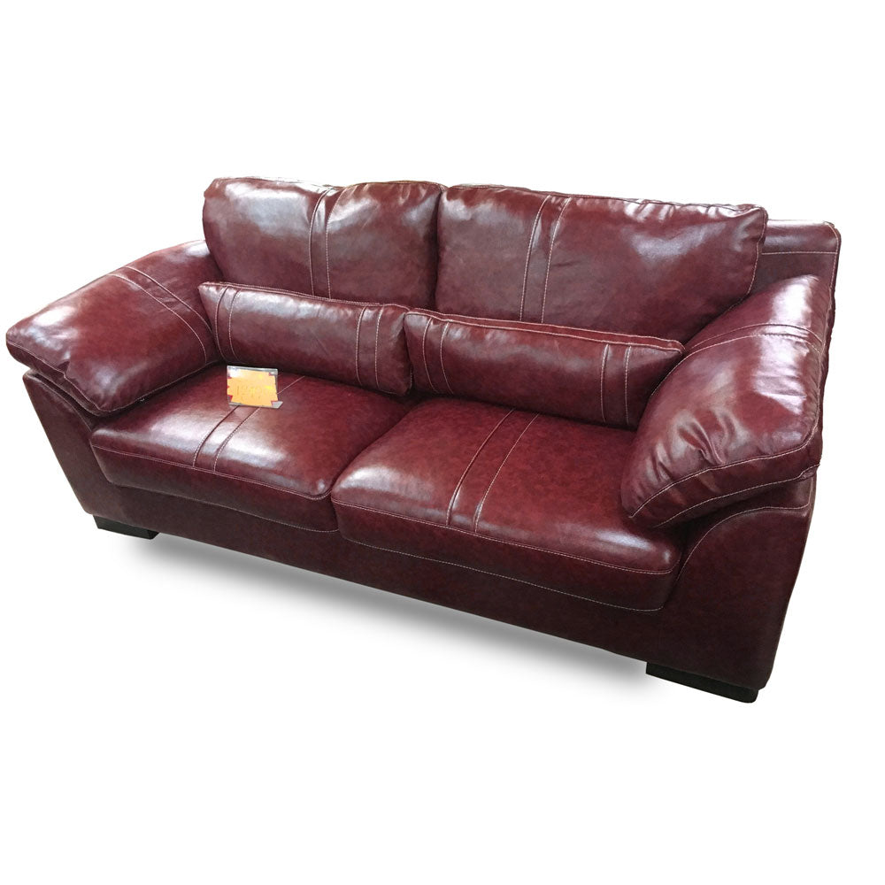 Diego 7 seater Wine Italian leather Sofa Set - Domestico Furniture