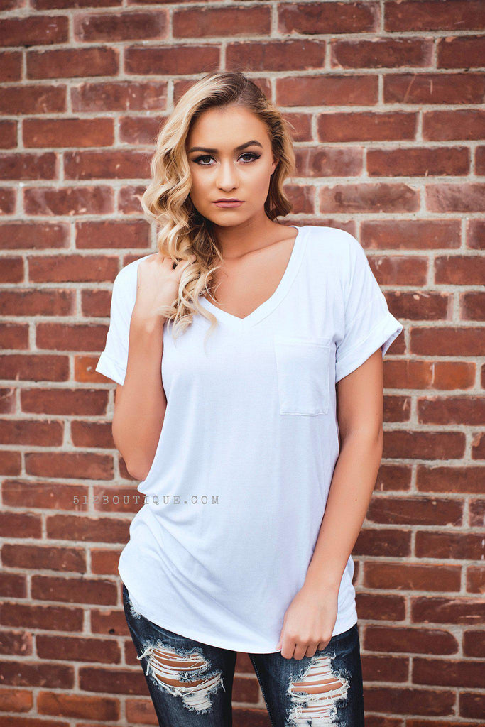 Pocket Tee -White - 512 Boutique