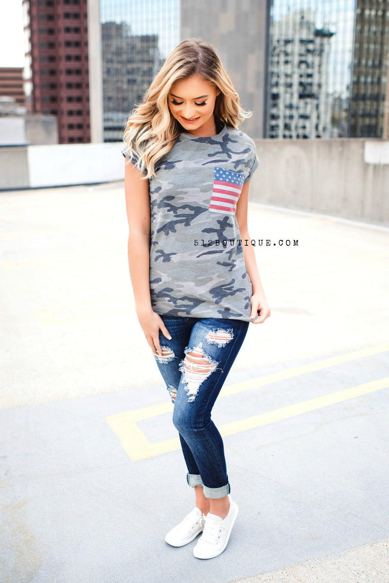 Camo Flag Top - 512 Boutique