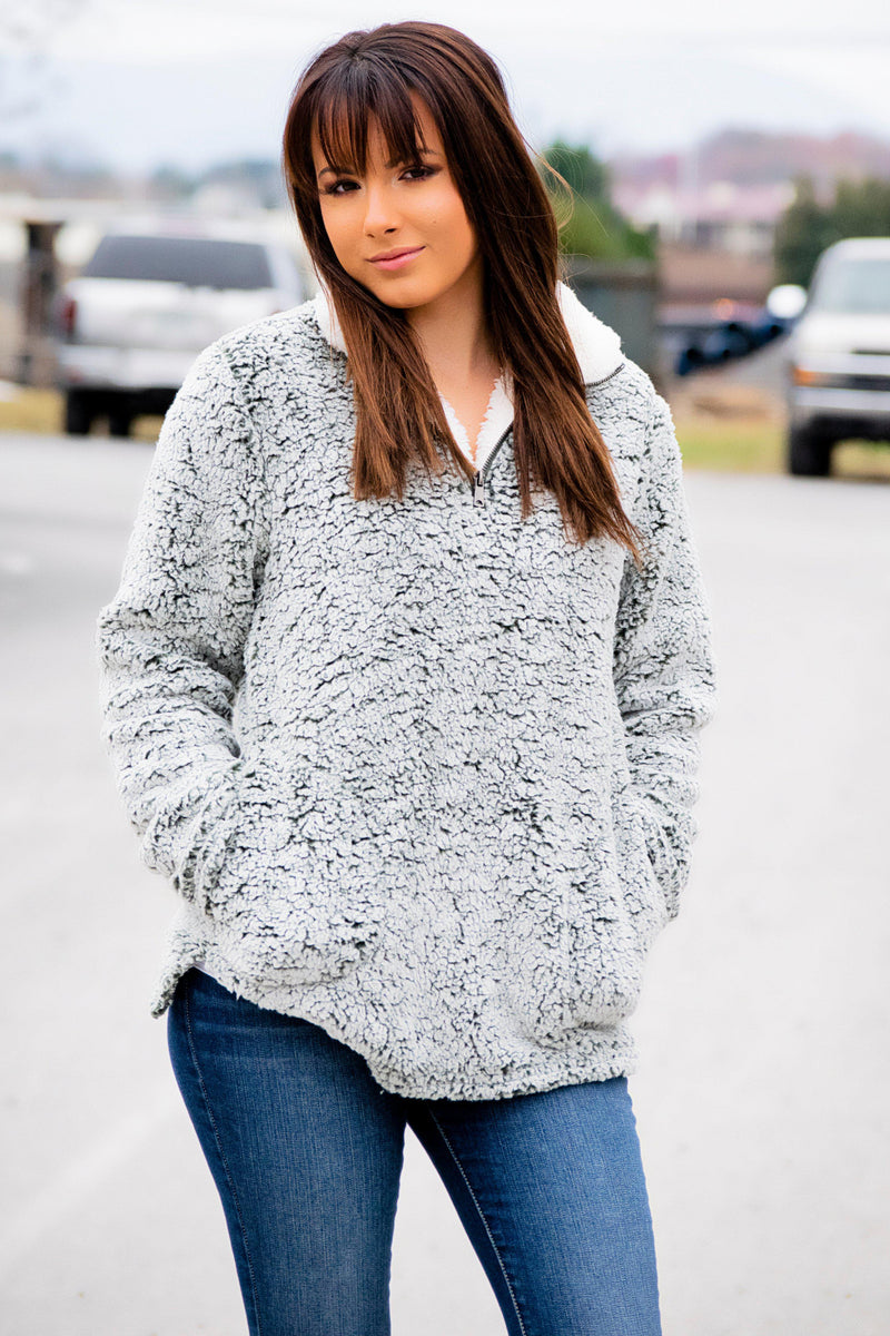 Olive Sherpa Pullover - Final Sale - 512 Boutique