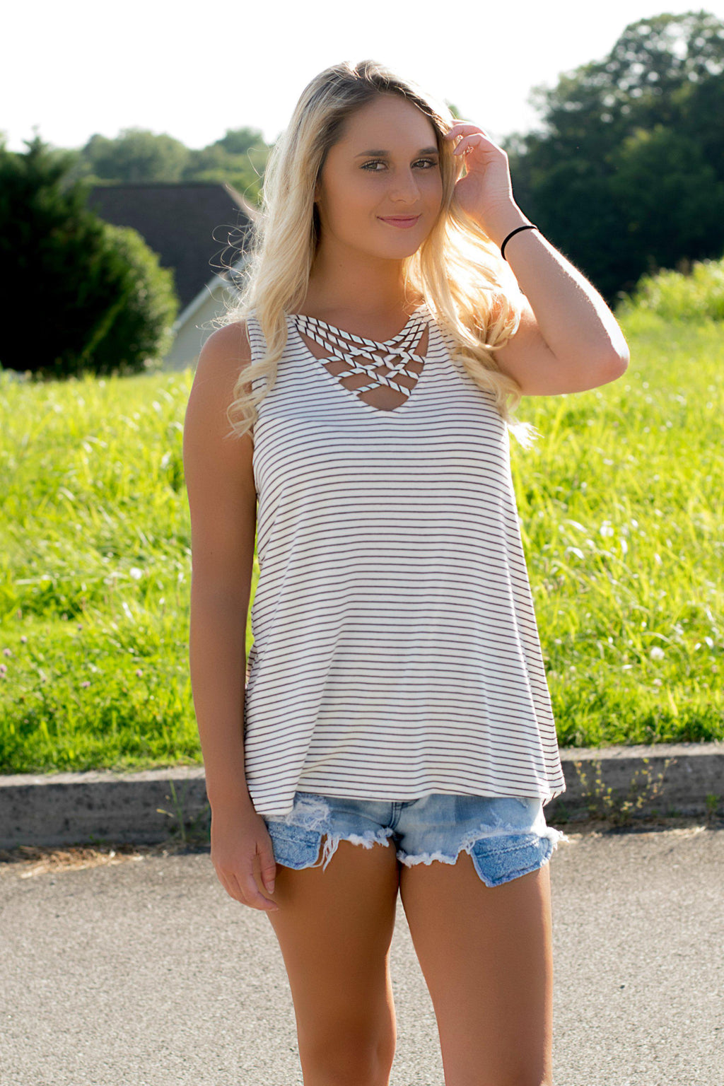 Lucky Charm Striped Tank- White - 512 Boutique