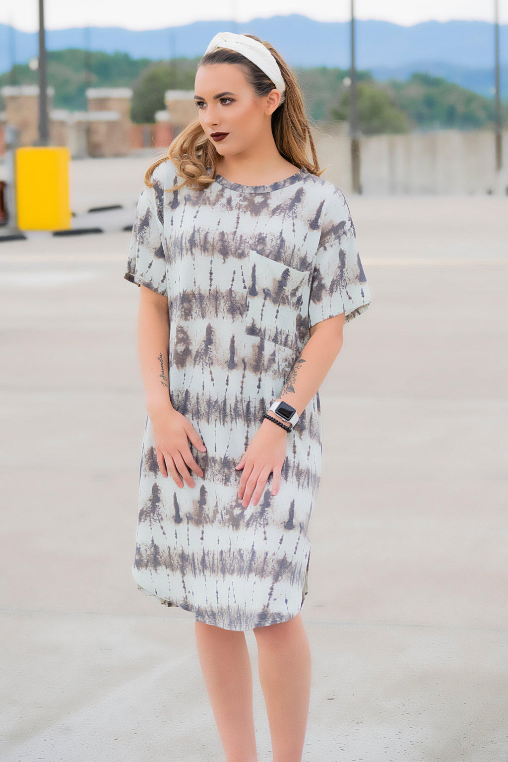 Mint/Charcoal Tie dye dress - 512 Boutique
