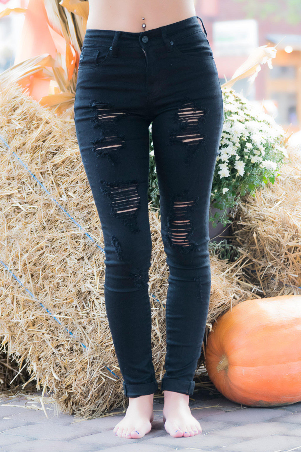 Emberly High Rise KanCan Black Distressed Jeans - 512 Boutique