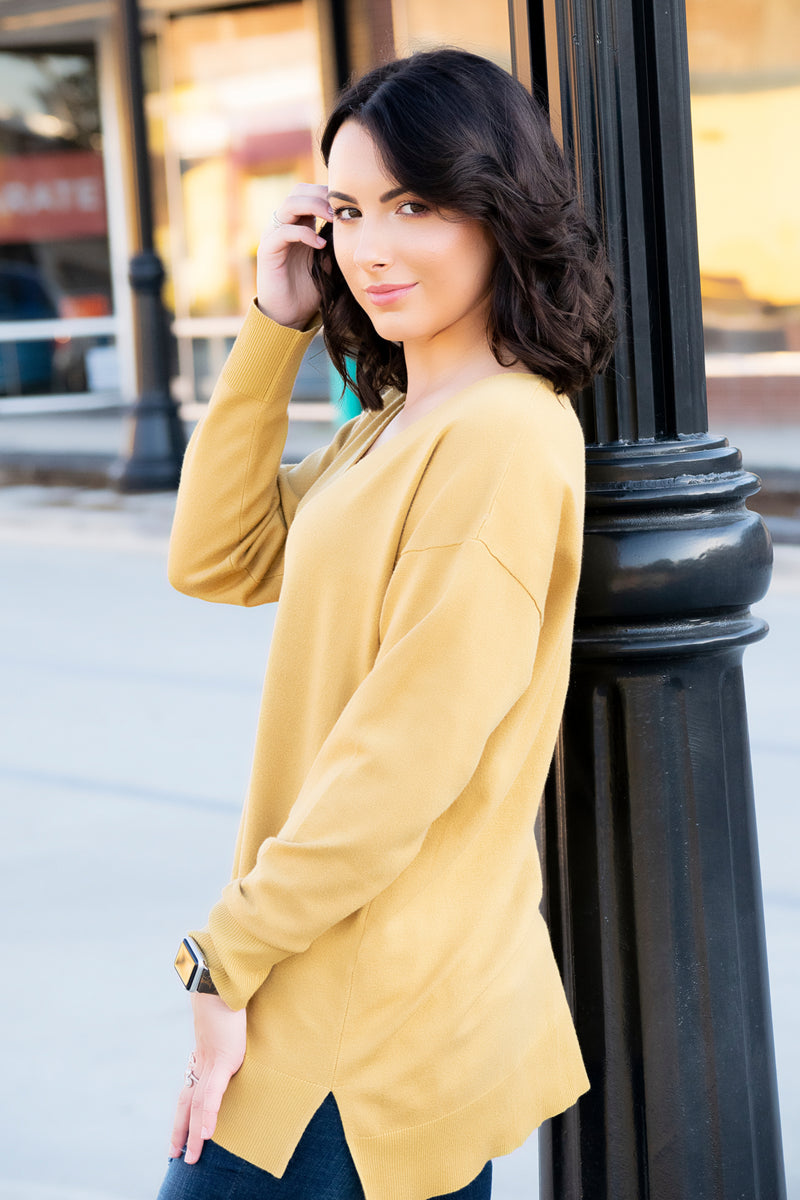 The Madison Sweater- Mustard - 512 Boutique