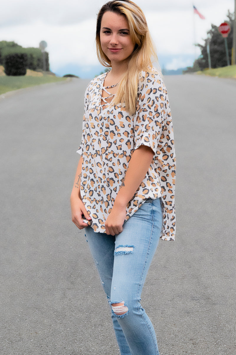 Strappy Animal Print Top - 512 Boutique