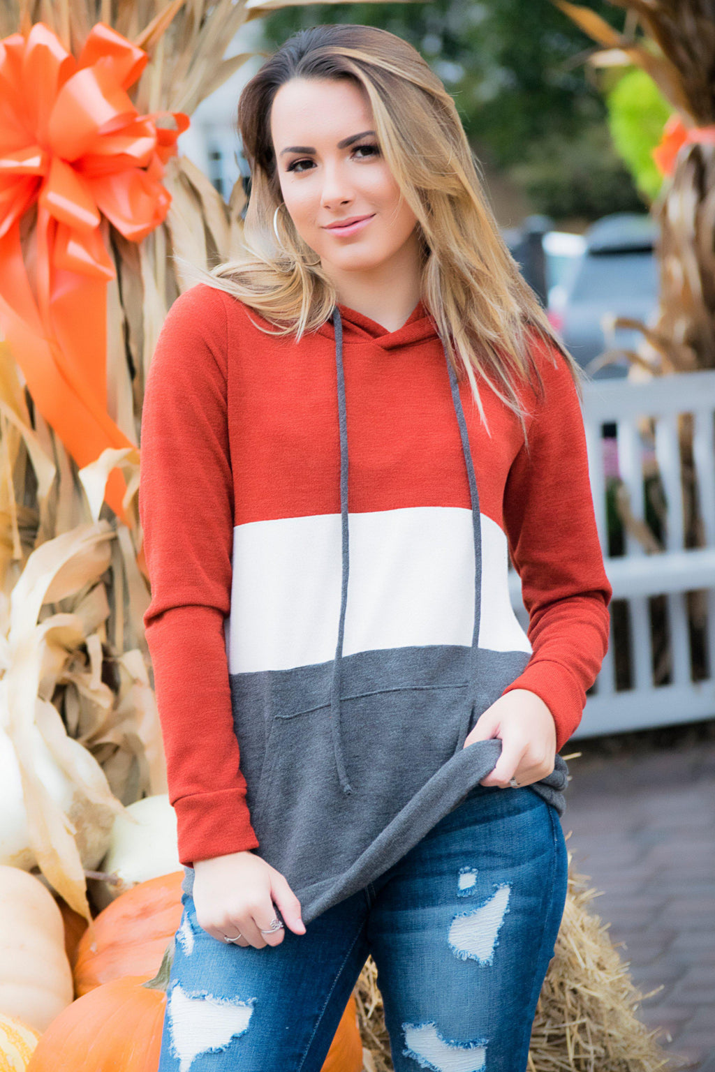 Colorblock Hoodie- Rust - 512 Boutique