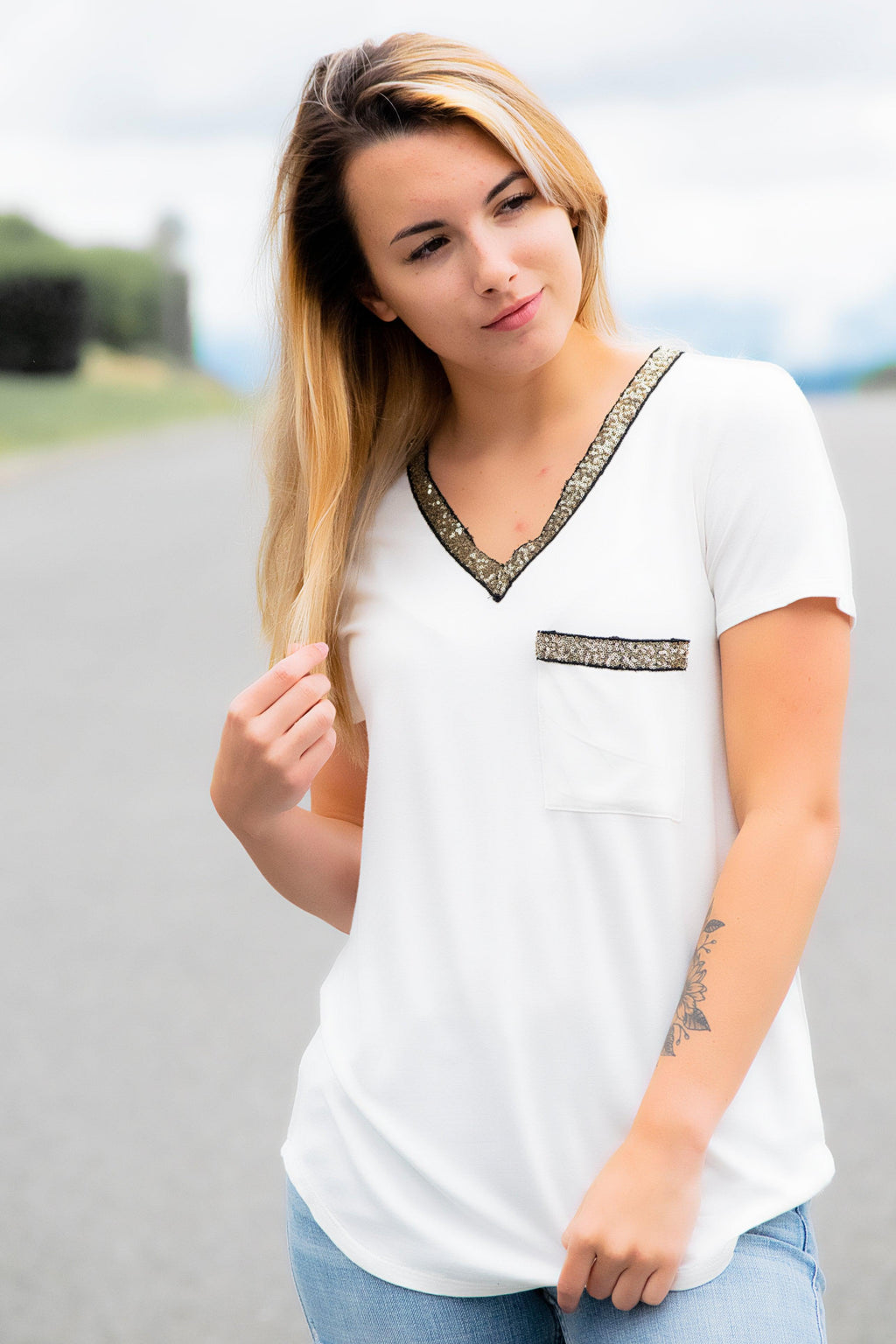 Glitter Pocket Top- Ivory - 512 Boutique