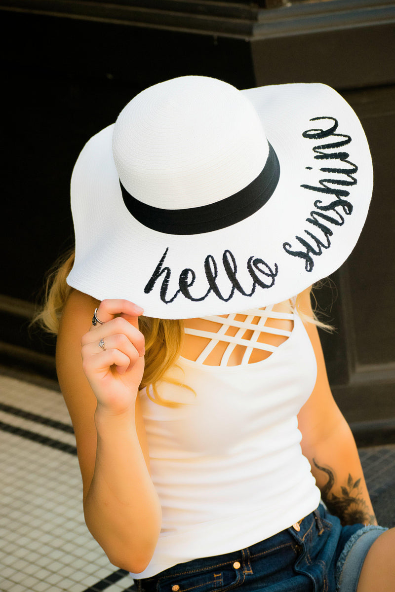 Hello Sunshine White Floppy Hat - 512 Boutique