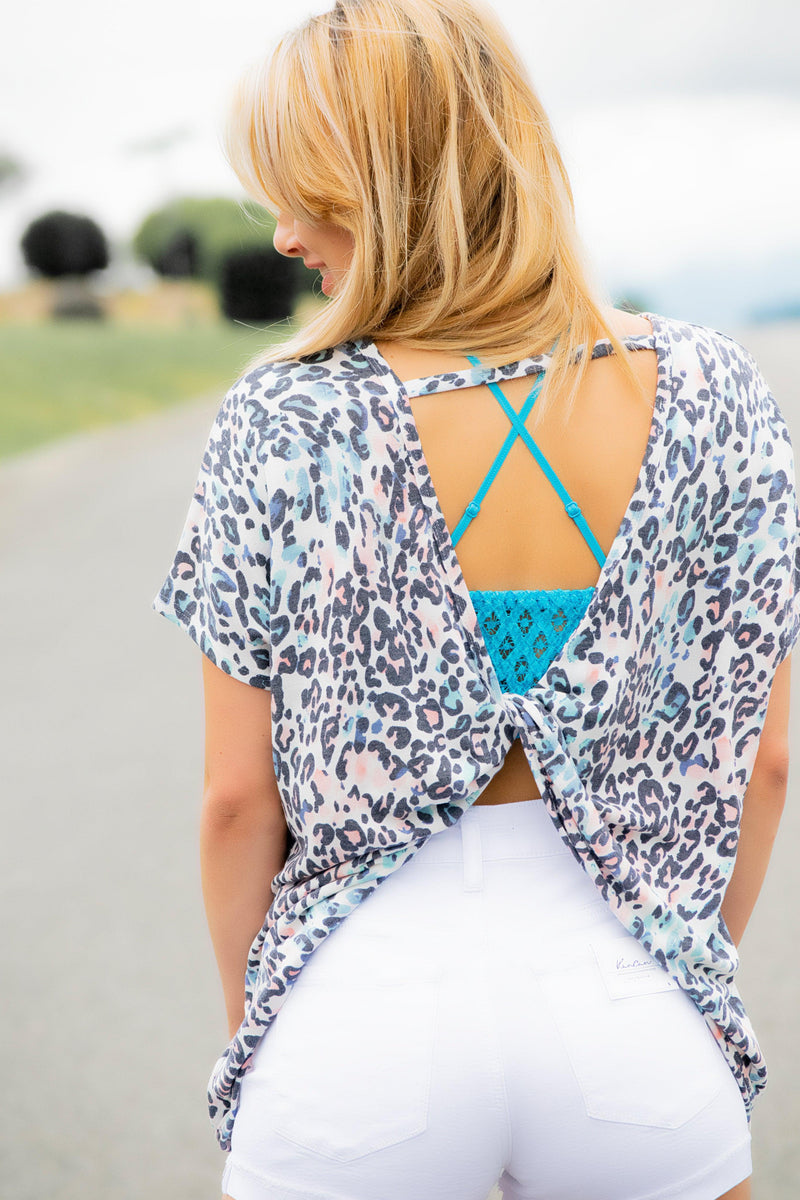 Open Back Animal Print Top - 512 Boutique