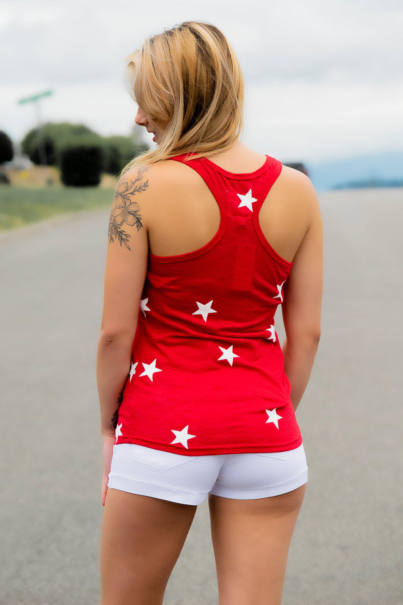Star Struck Tank- Red - 512 Boutique