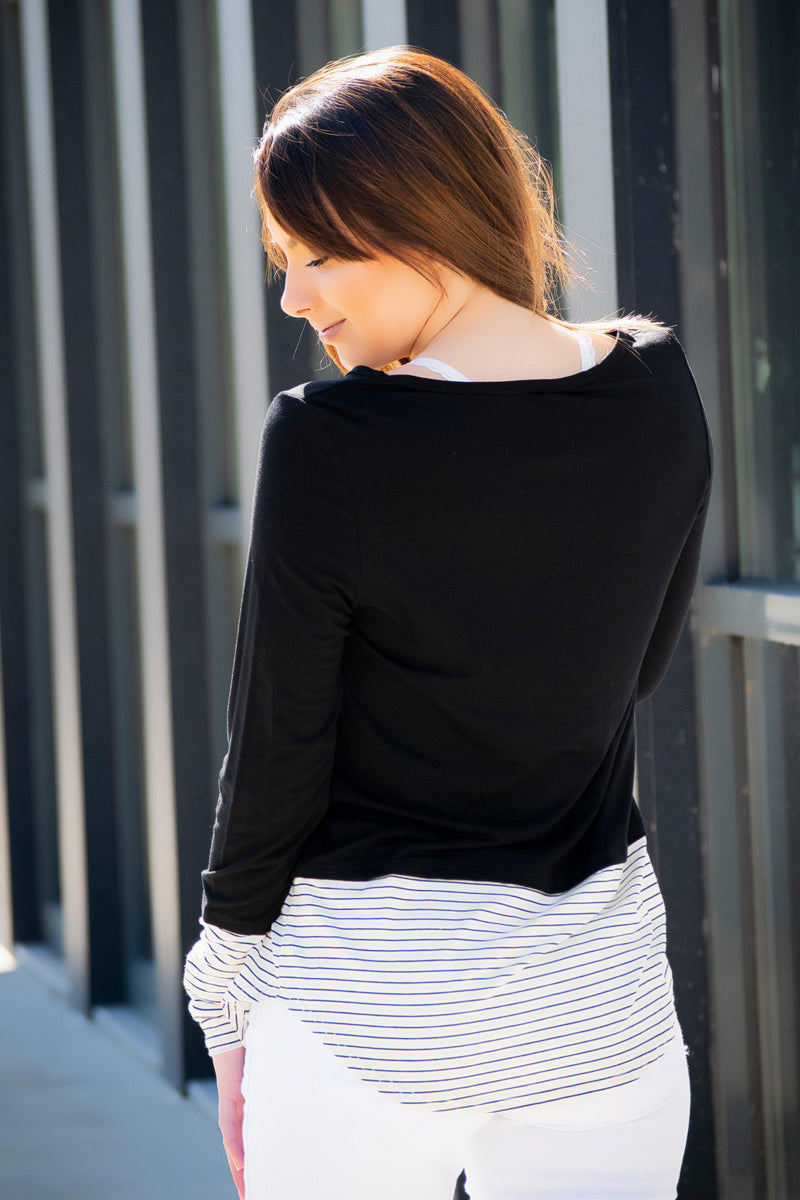 Double Pocket Stripe + Sparkle  (Black) - 512 Boutique