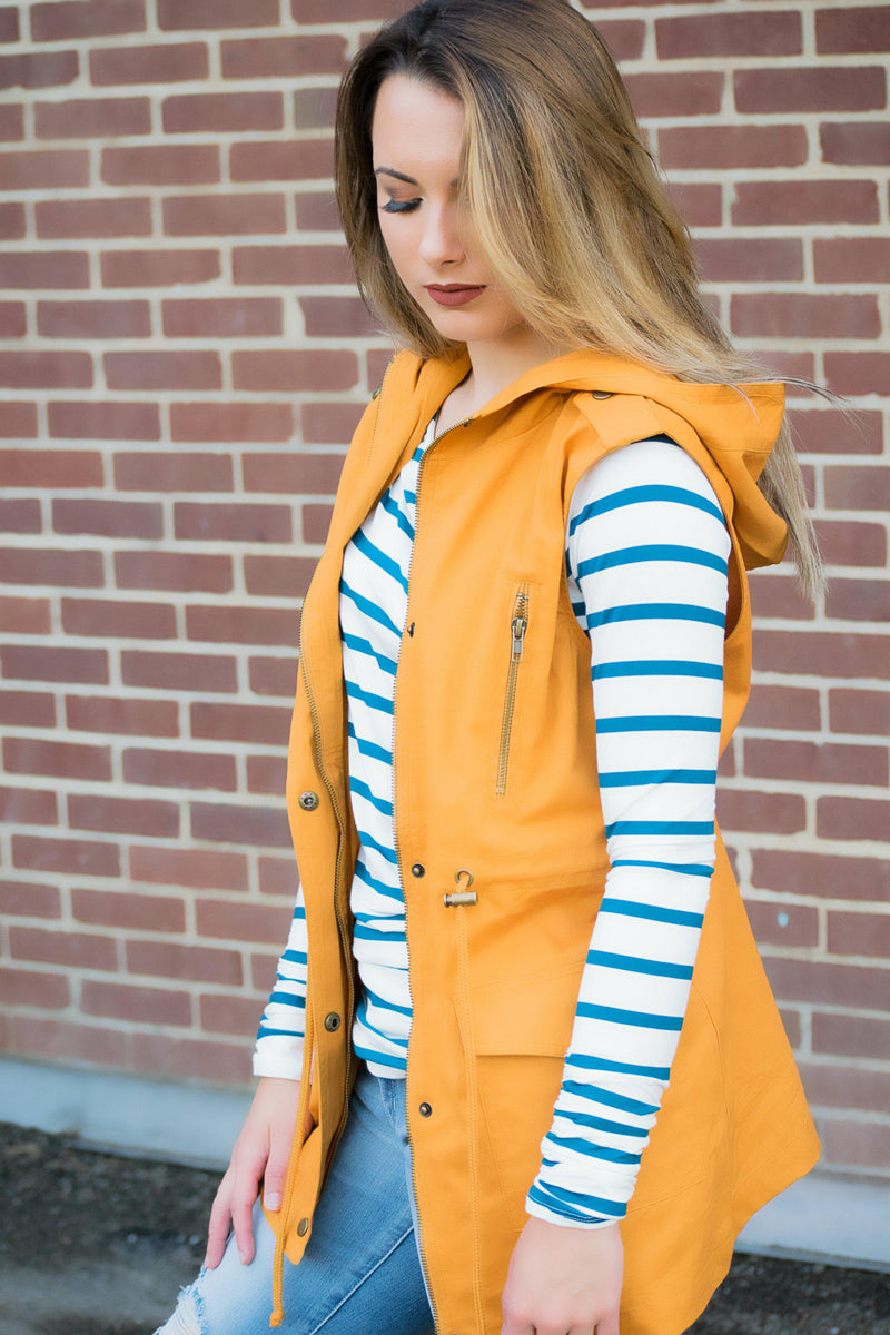 The Right Direction Vest- Mustard - 512 Boutique