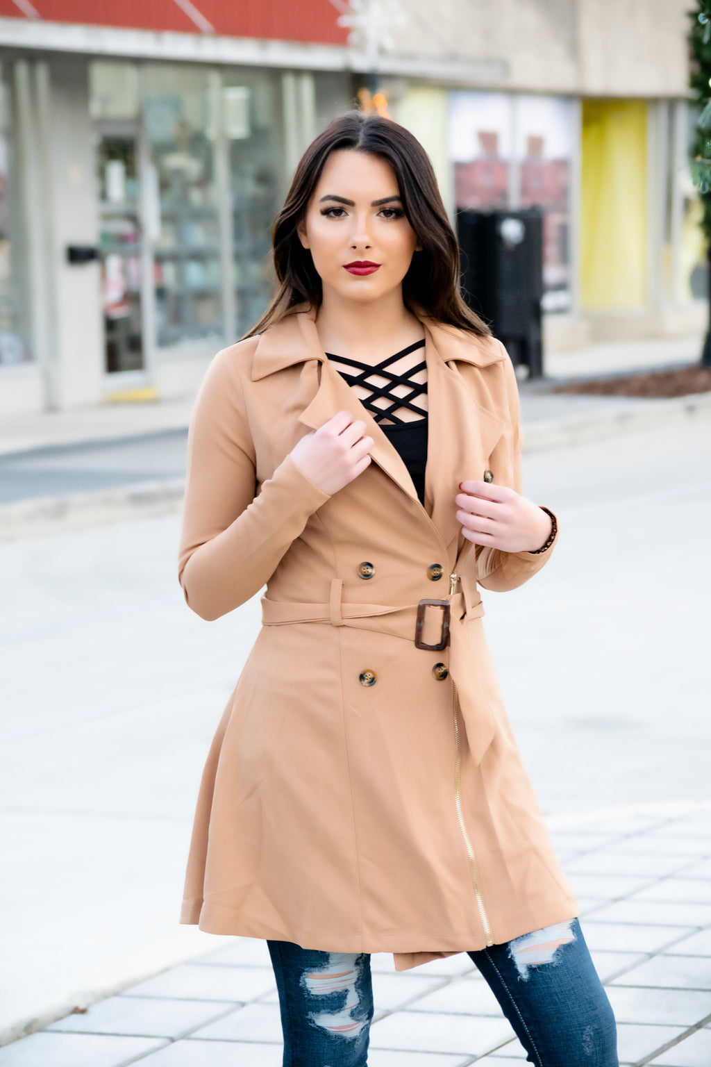 New York Lights Jacket- Taupe - 512 Boutique