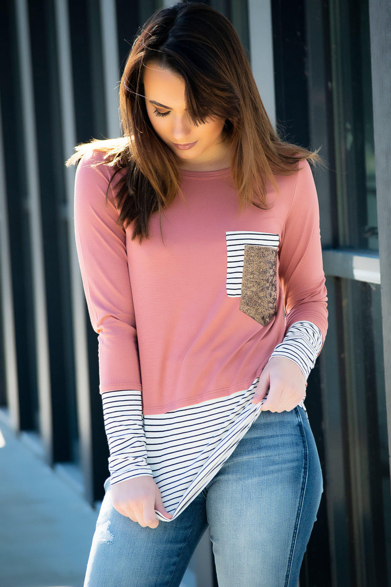 Cross My Heart Top- Pink