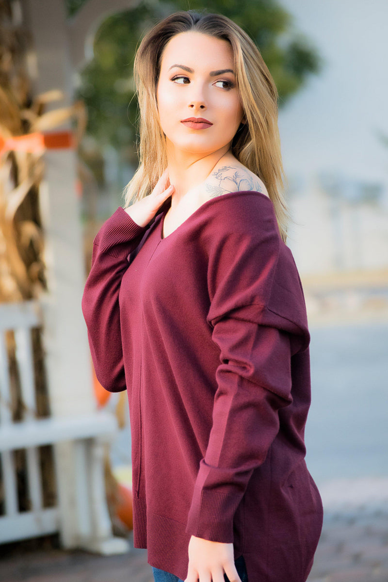 The Madison Sweater- Plum - 512 Boutique