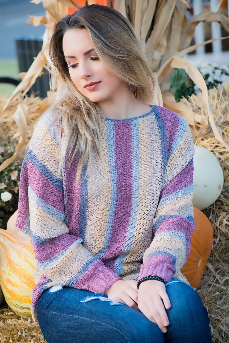Striped Knit Sweater - 512 Boutique