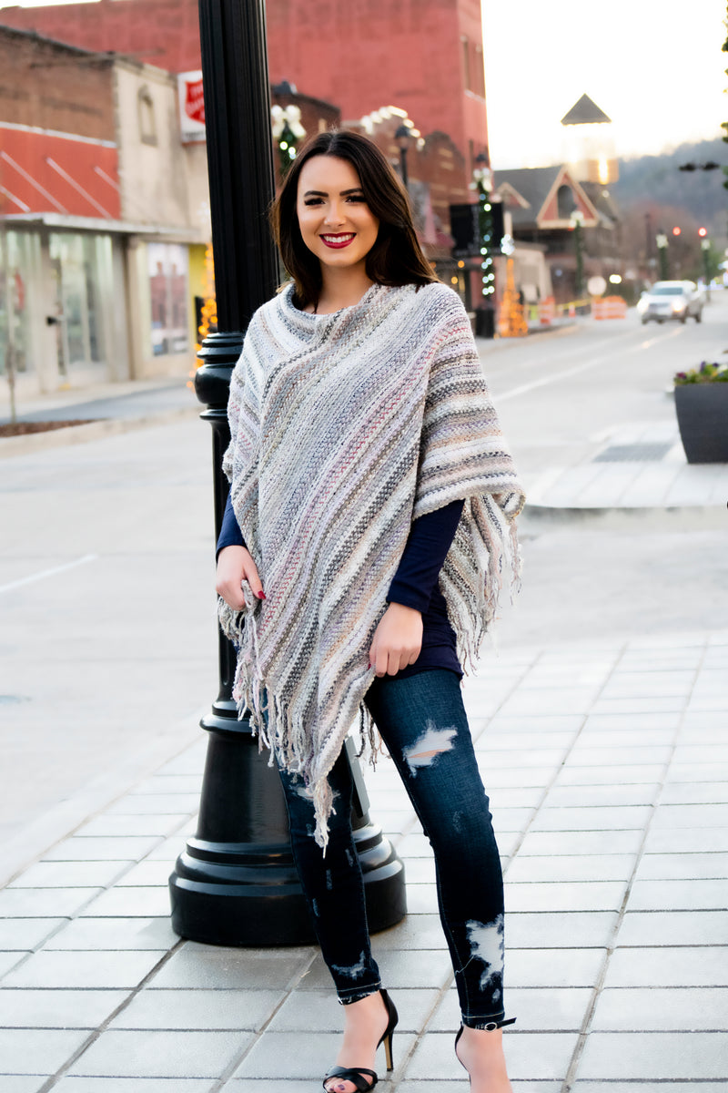 Sweater Knit Poncho - 512 Boutique