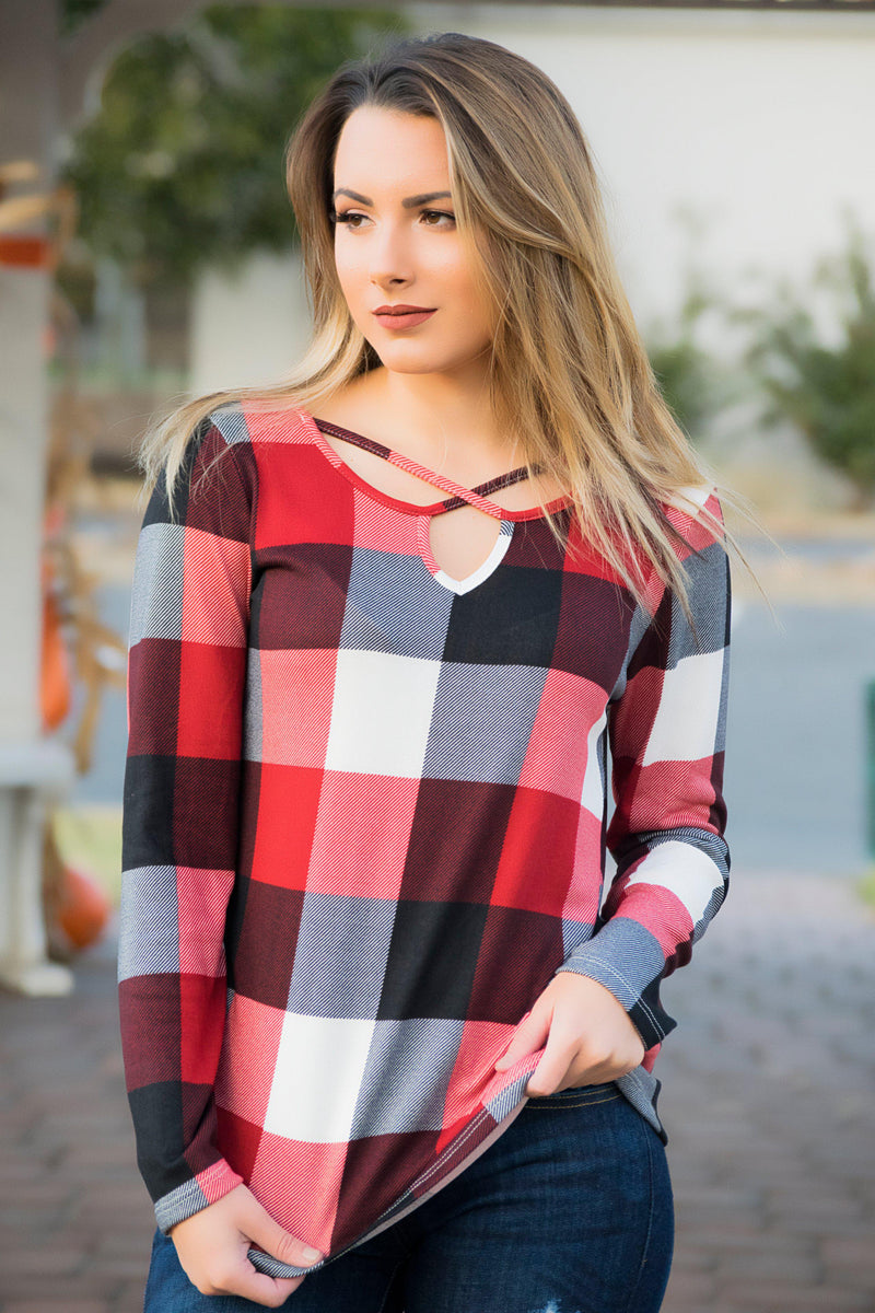 Plaid Cross Top - 512 Boutique